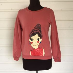 Tops - Pink Sweatshirt: Beehive Hair Image Asian XL, US S